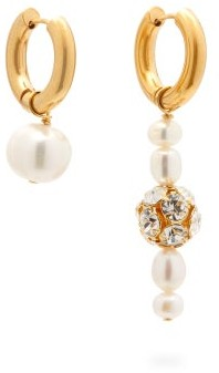 Timeless Pearly - Mismatched Pearl & Crystal Gold-plated Earrings - Womens - Pearl