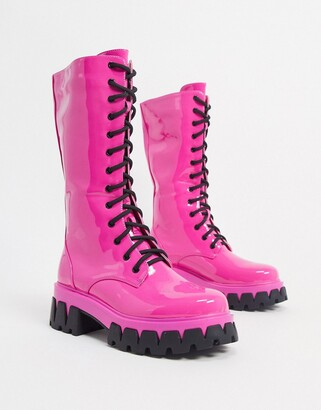 Koi Footwear Trinity vegan lace up chunky boot in pink