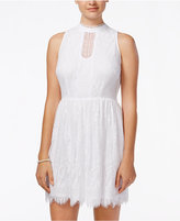 As U Wish Juniors' Lace Mock-Neck Fit & Flare Dress