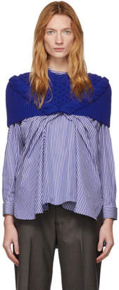 Enfold Blue Cable Knit Cape Sweater
