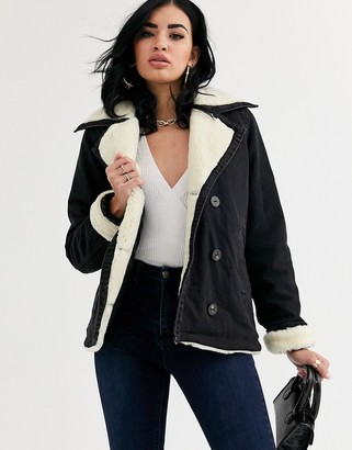 Asos Design DESIGN denim aviator jacket with contrast borg collar-Black