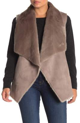 Love Token Jorja Draped Faux Fur & Faux Suede Vest