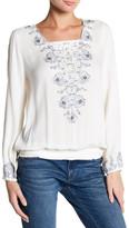 Lucky Brand Embroidered Smocked Hem Blouse