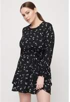 Dynamite Ruffled Fit & Flare Dress Black Floral