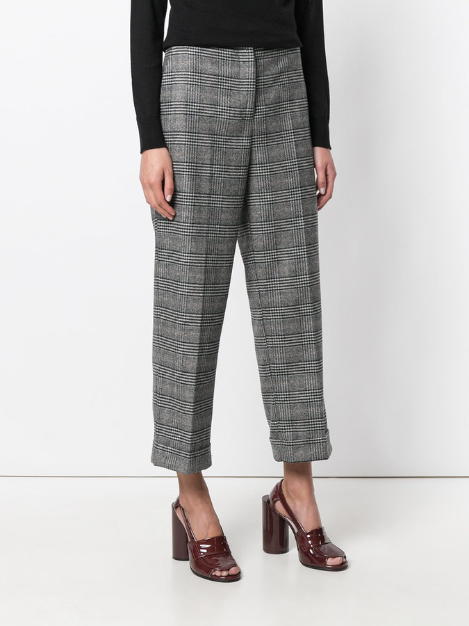 Kiltie plaid print tapered trousers