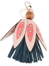 Dezine News Faux Leather Floral Tassel Key Chain