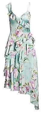 Theia Women's Asymmetrical Floral Ruffle Dress