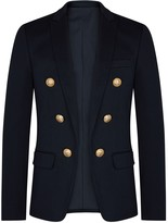Balmain Navy Double-breasted Cotton Blazer