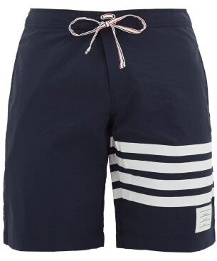 Thom Browne 4-bar Stripe Board Shorts - Mens - Navy