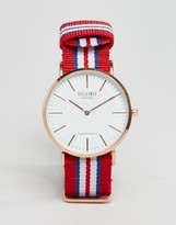 Reclaimed Vintage Canvas Multistripe Watch In Red