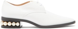 Nicholas Kirkwood Casati Pearl-heel Leather Derby Shoes - Cream