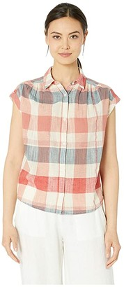 Lucky Brand Plaid Short Sleeve Shirt (Red Multi) Women's Clothing