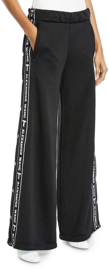 Alexander Wang Sleek Wide-Leg Logo Snap-Up French Terry Pants