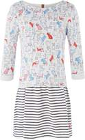 Joules Girls Dog Print Stripe Long Sleeve Dress