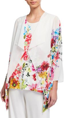 Caroline Rose Flirty Floral Draped Georgette Jacket