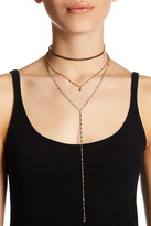 Stephan & Co Faux Leather Drop Chain Choker