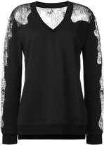 McQ by Alexander McQueen lace panels sweatshirt - women - Cotton/Polyamide/Polyester/Viscose - XS