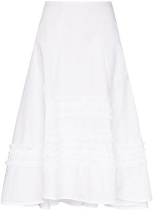 Molly Goddard Jane panelled frilled midi skirt