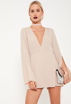 Missguided Nude Crepe Split Sleeve Asymmetric Playsuit