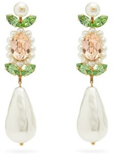 Simone Rocha Faux-pearl And Crystal-embellished Drop Earrings - Womens - Pearl