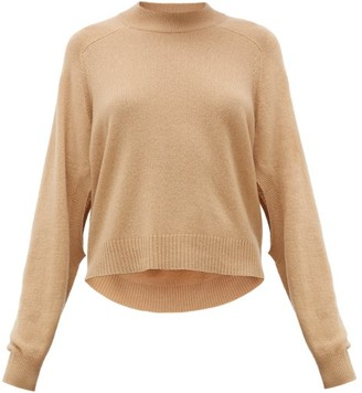 Tibi Cutout-sleeve Cropped Cashmere Sweater - Camel