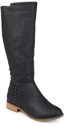 Brinley Co. Womens D-ring Strap Distressed Faux Leather Riding Boots