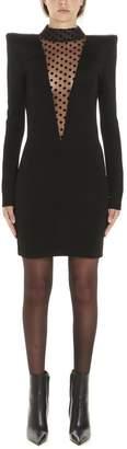 Balmain Sheer Polka Dot Insert Mini Dress