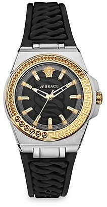 Versace Chain Reaction Two-Tone Silicone Strap Watch