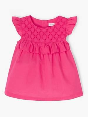 John Lewis & Partners Baby Broderie Swing Top, Pink
