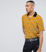 Asos Tall Oversized Diagonal Stripe Shirt With Revere Collar