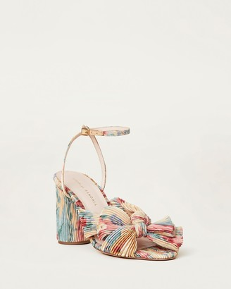 Loeffler Randall Camellia Bow Heel with Ankle Strap Butter Floral