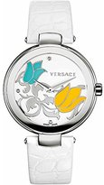 Versace Women's I9Q99SD1TU S001 Mystique Stainless Steel White Leather Enamel Dial Watch