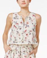 J.o.a. Front-Zip Floral-Print Crop Top