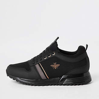 River Island Black 'MCMLXXVI' lace-up trainers