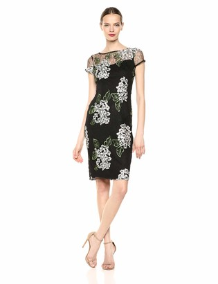 Adrianna Papell Women's Floral and Lace Sheath Midi Dress