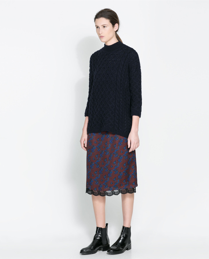 Zara Printed Skirt With Lace Trim