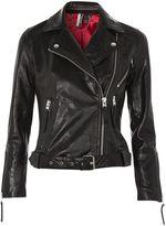 Topshop Belted Leather Biker Jacket
