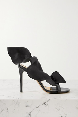 Alexandre Vauthier Penelope Ruffled Organza And Patent Leather Slingback Sandals - Black