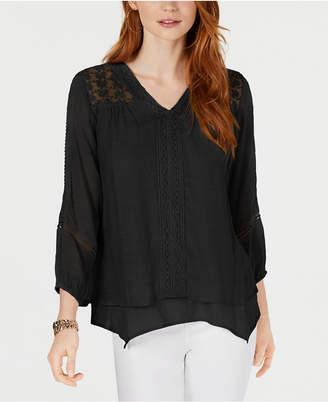 Style&Co. Style & Co Lace-Yoke Handkerchief-Hem Top