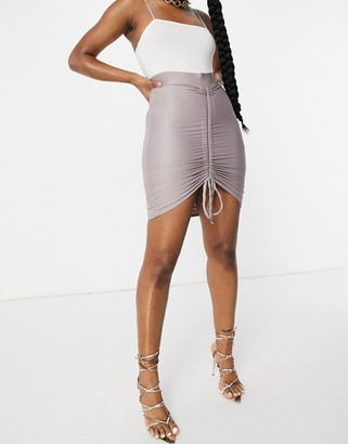 Club L London ruched mini skirt in mauve