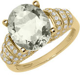 Lord & Taylor 14K Yellow Gold Green Amethyst and Diamond Ring