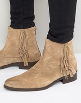Asos Pointed Chelsea Boots In Stone Suede With Finging