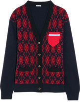 Miu Miu Oversized Argyle Wool Cardigan - Burgundy
