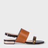Paul Smith Women's Tan And Black Leather 'Cleo' Sandals