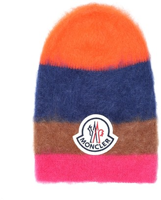 Moncler Striped mohair-blend beanie