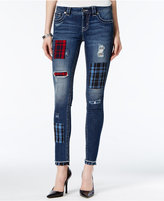Miss Me Patchwork Blue Wash Skinny Jeans