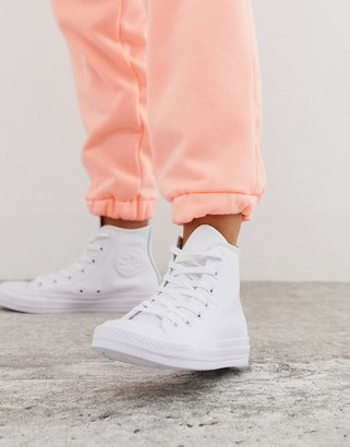 Converse chuck taylor hi leather white monochrome sneakers