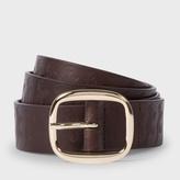 Paul Smith Men's Brown Leather Embossed Dino Belt