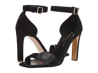 Rupert Sanderson Melissa Pebble Sandal (Black Suede/Black Shagreen Covered Pebble) Women's Shoes