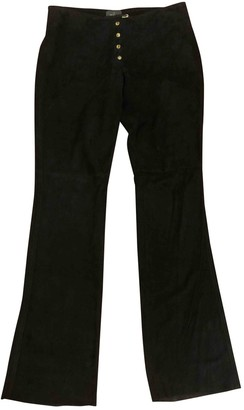 Trussardi Black Leather Trousers for Women